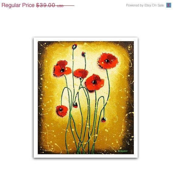 Flower Art Red Poppy Art Print, Red Poppies Wall Art Rustic Wall ...