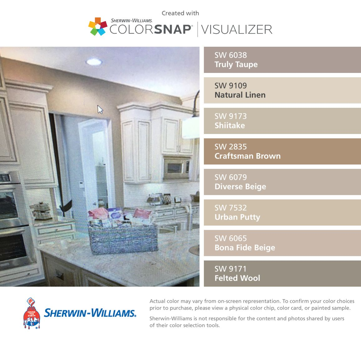 I found these colors with colorsnap visualizer for iphone by sherwin williams truly taupe sw for Interior paint color visualizer