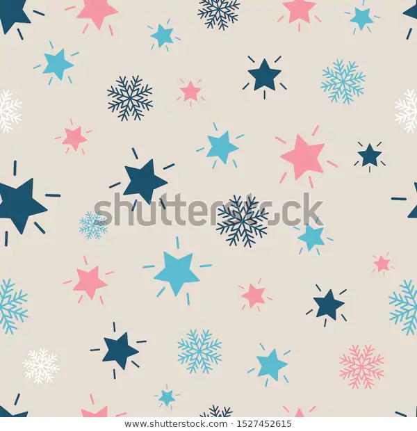 Snowflakes Shining Stars Seamless Repeat Pattern Stock Vector Royalty Free 1527452615 Repeating Patterns Pattern Shining Star