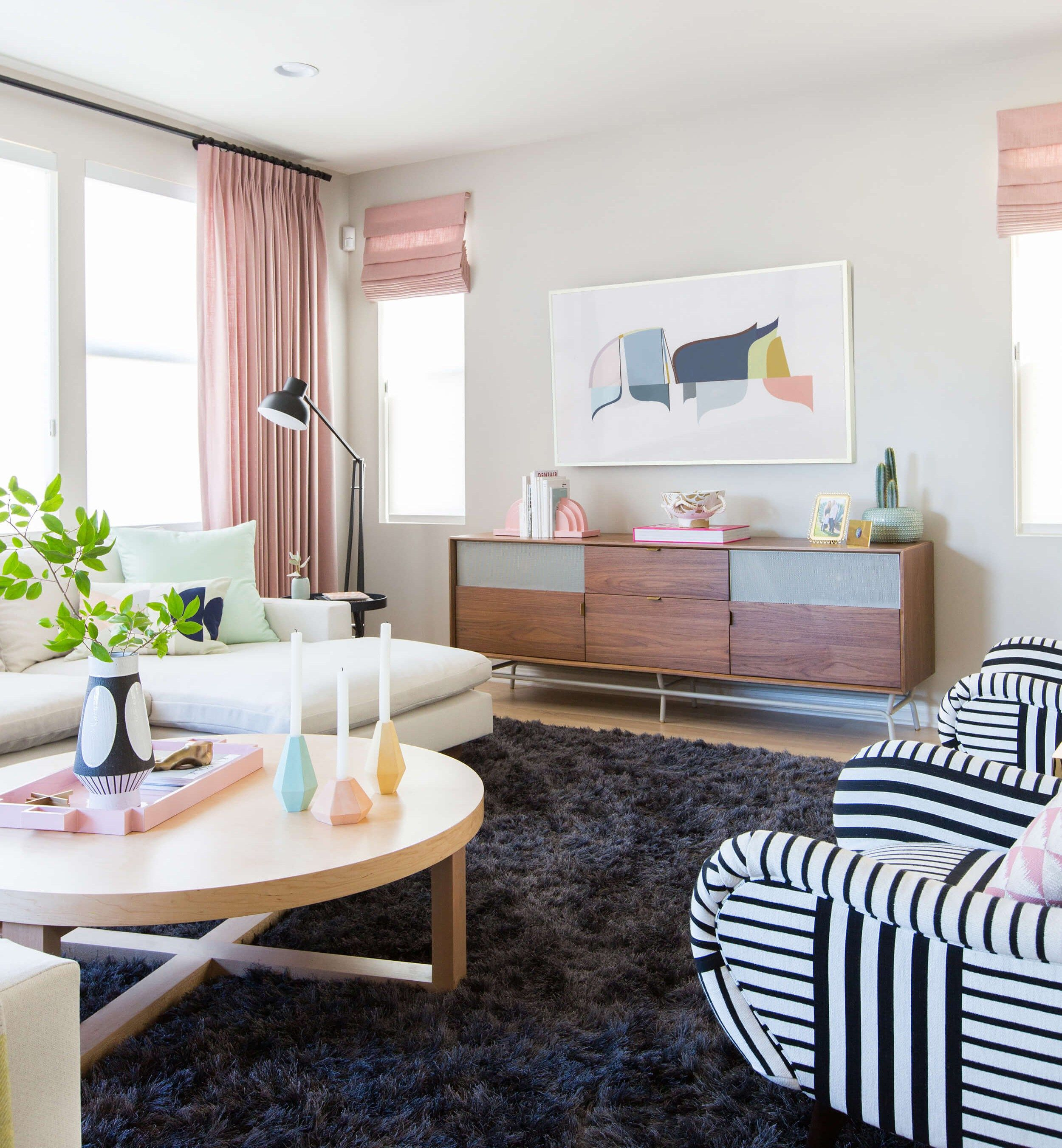 Modern living room pink accents decor in pinterest room