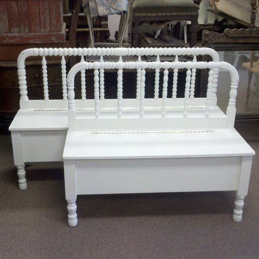 Custom Made Spool Headboard Bench With Storage Old Bed