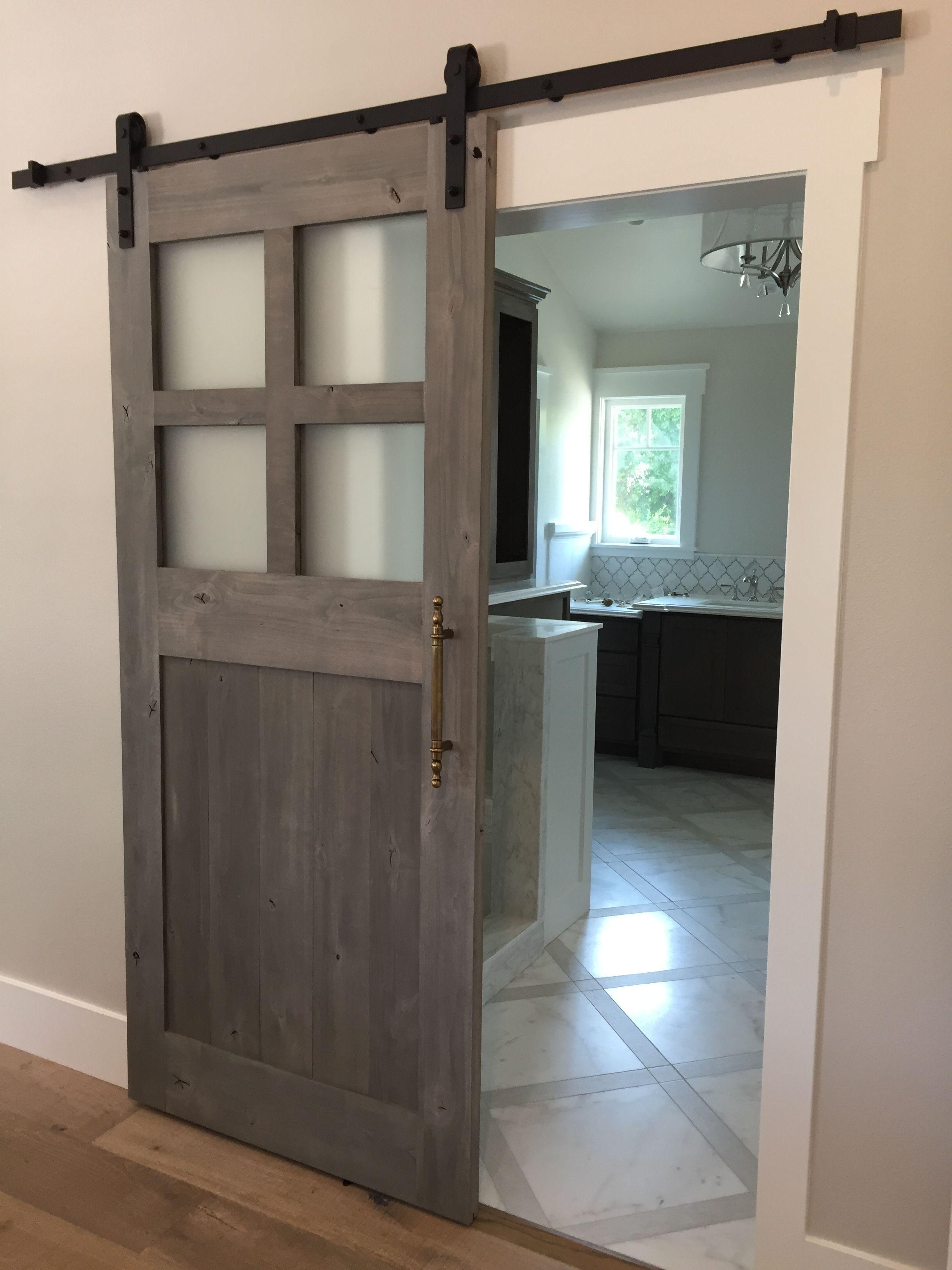 Bathroom Barn Door with glass | Barn Doors in 2019 | Glass