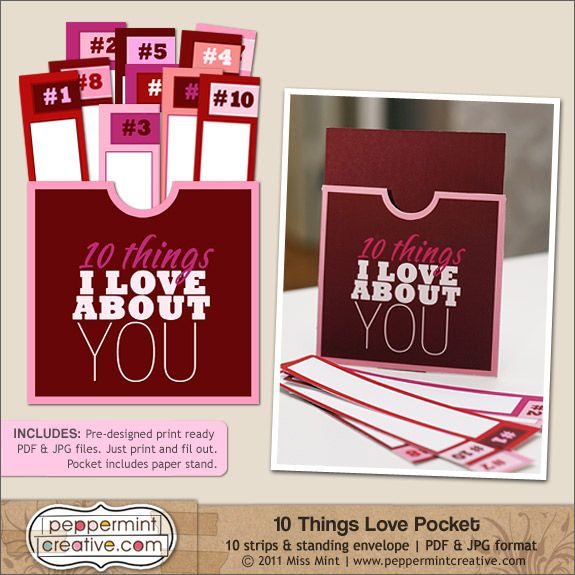 10 Things I Love About You printable pocket from peppermintcreative.com