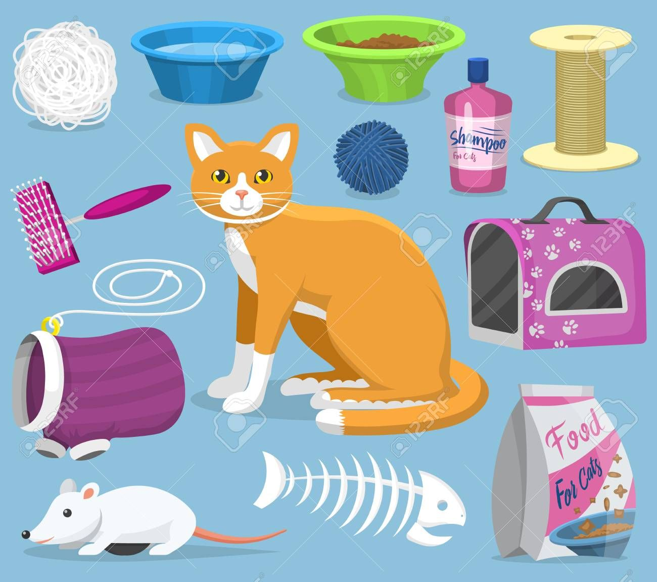 Cat toys vector pets accessories for pussycats care or playing kitten bowl and animal grooming tools kitty brush illustration feline set isolated on background , #SPONSORED, #care, #pussycats, #playing, #bowl, #kitten