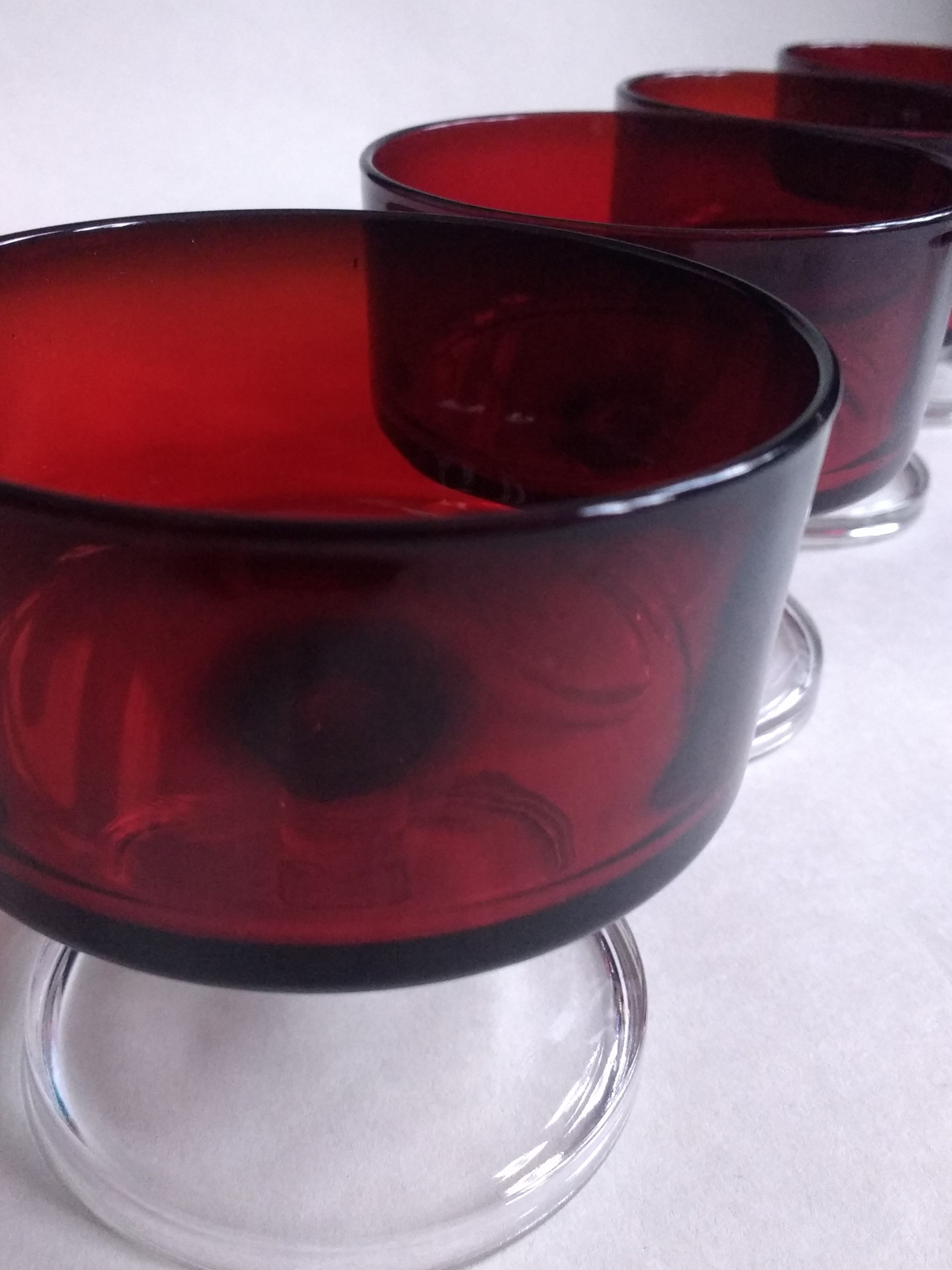 Stunning Arocroc Cranberry Desert Dishes Shot Glasses Cherry Glasses And Fruit Trifle Bowl Fruit Trifle Fruit Trifle Bowl Trifle Bowl