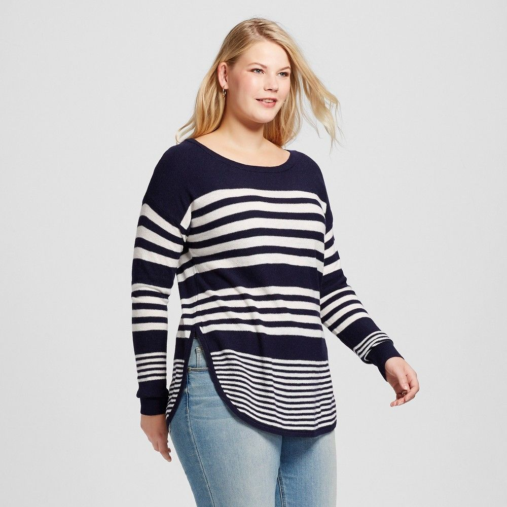 Women's Plus Size Long Sleeve Pullover Sweater Navy (Blue) Stripe ...