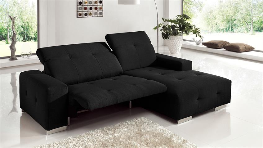 Ecksofa FRANCISCO Sofa schwarz elektrischer Relaxfunktion