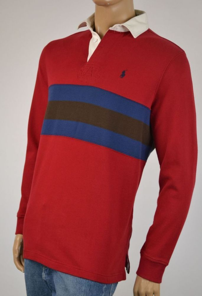 8f683dc6a71abe Ralph Lauren Medium M Red Stripe Rugby Sweatshirt Blue Pony NWT   Clothing,  Shoes   Accessories, Men s Clothing, Casual Shirts   eBay!