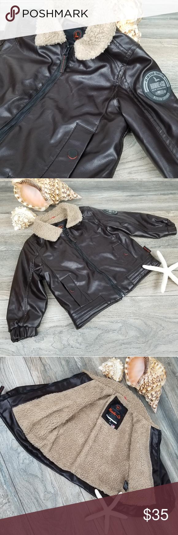 Hawke Co Bomber Aviator Flight Jacket Sz 4t Faux Leather Jacket Faux Sherpa Lining And Collar Snap Pocket Flight Jacket Clothes Design Faux Leather Jackets [ 1740 x 580 Pixel ]