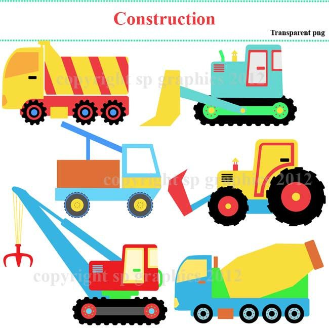Construction Vehicles Clipart For Cards Scrapbooking By Spgraphics
