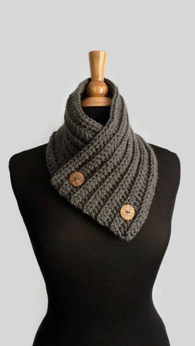 Mens Cowl Scarf With Buttons Gray Button Neck Warmer Scarf