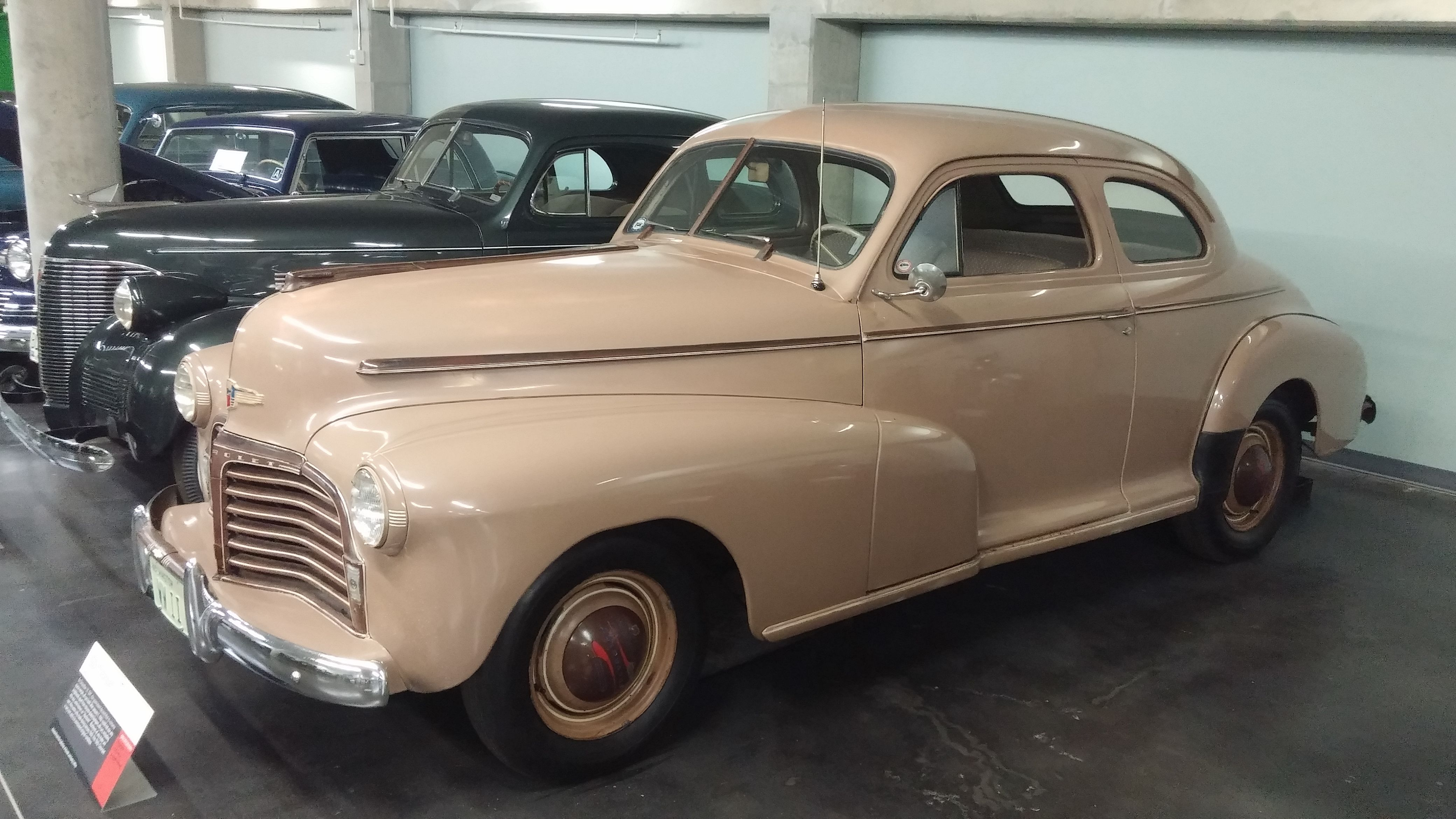 """1942 Chevrolet """"Blackout"""" 2-Door Coupe in Sport Beige ~~ LeMay Auto Museum, Tacoma, Washington, U.S.A."""