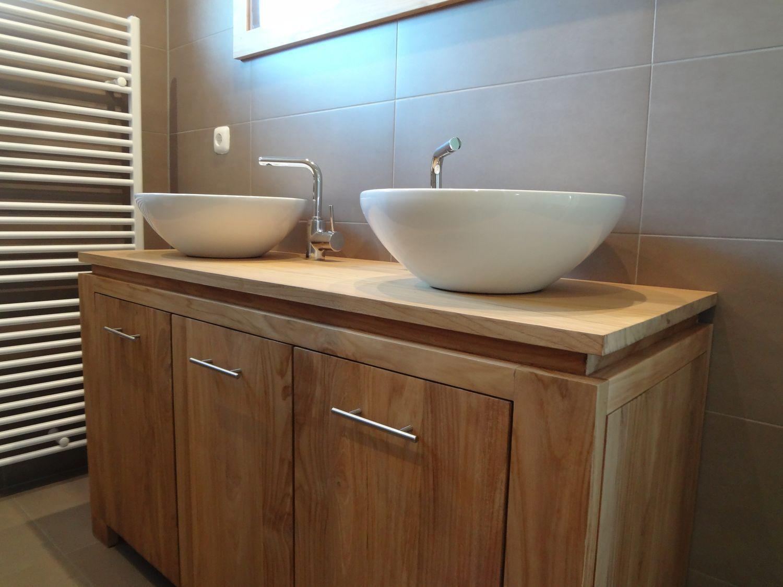 Teakhouten badkamermeubel met 2 keramische waskommen van ...