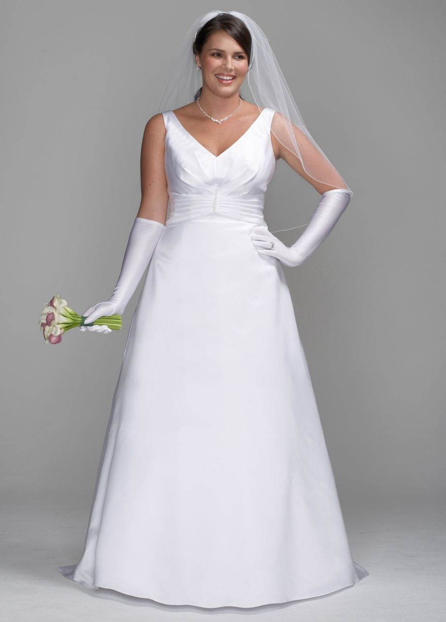 Satin A-Line Gown with Pleated Waist Detail - David\'s Bridal ...