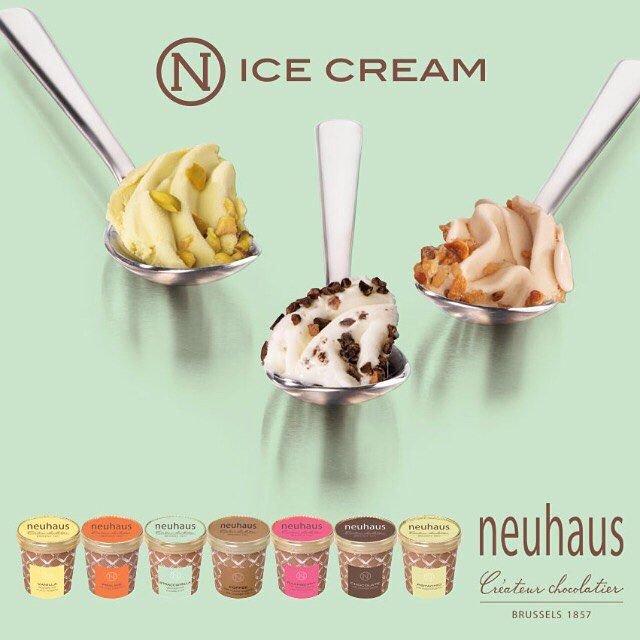 Have you discovered our 7 different #icecream flavours yet? Vanilla, Praliné, Stracciatella, Chocolate, Raspberry, Coffee or Pistachio... A delightful treat on a hot day like today! #neuhaus #chocolate