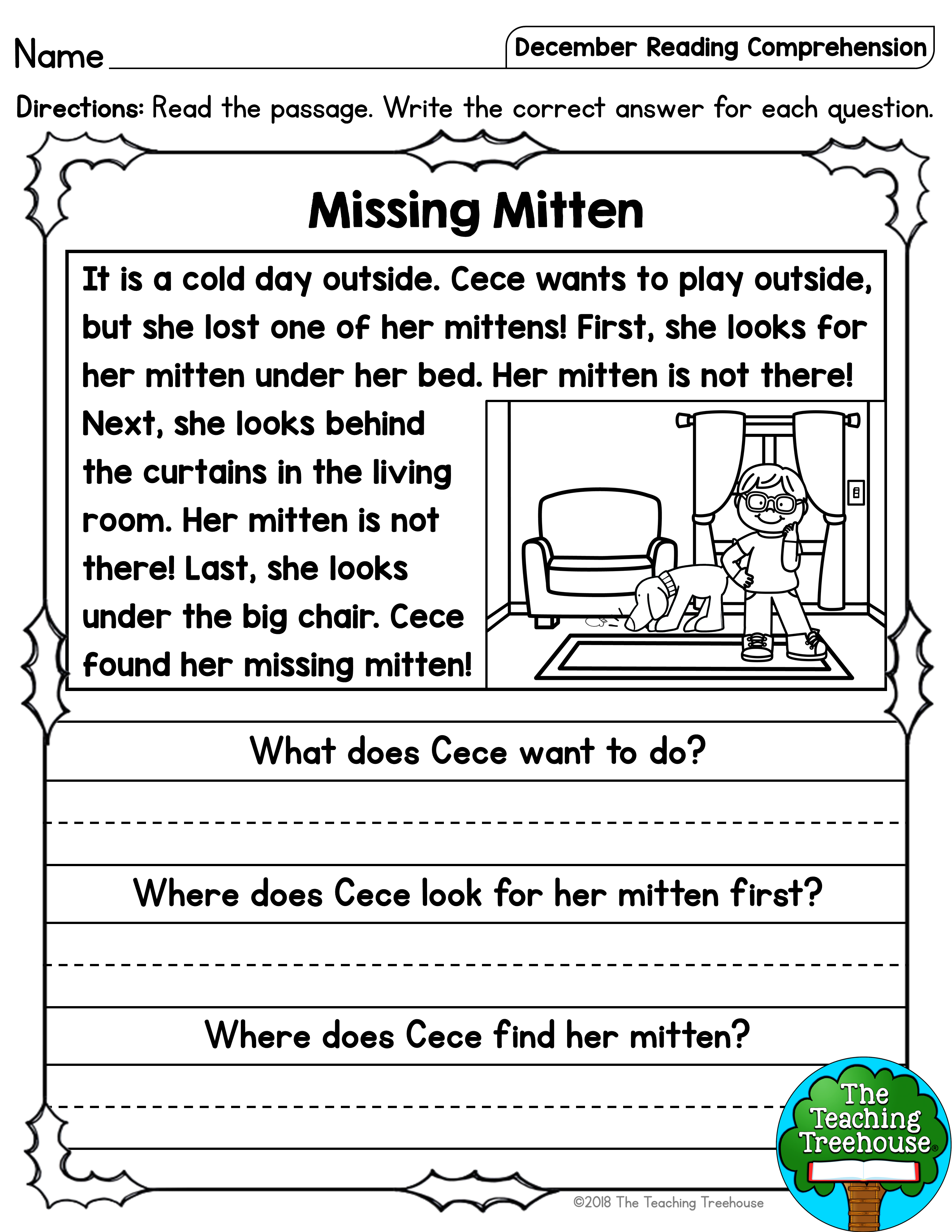 - December Reading Comprehension Passages For Kindergarten And First
