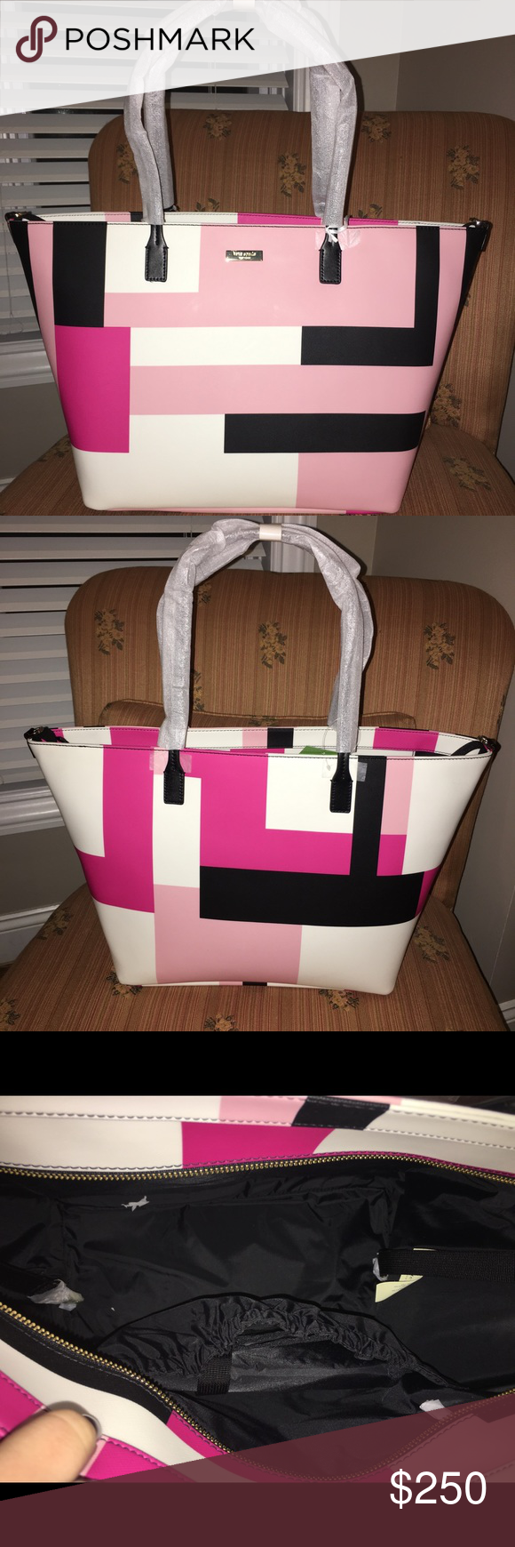 Kate Spade Diaper Bag/ Purse I bought this online and it is too big for my liking and can't return it. I bought it as a purse I had no idea it was a Diaper Bag. Comes with a changing table liner too. All the paper still on and inside, I took it out for the picture!! kate spade Bags Shoulder Bags
