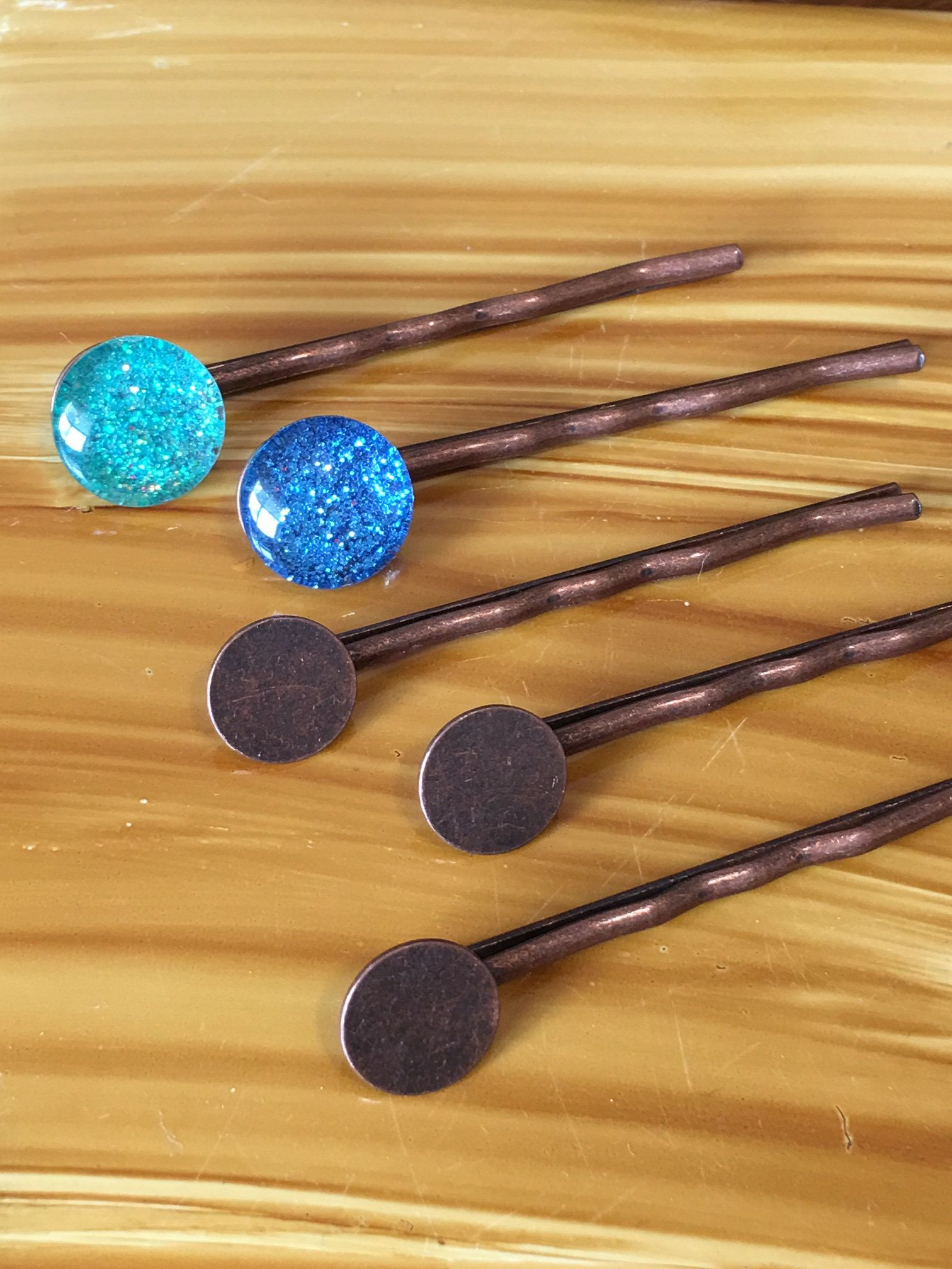 50 Silver Bobby Pins Hair Clips Findings// Blanks w// Glue Pad