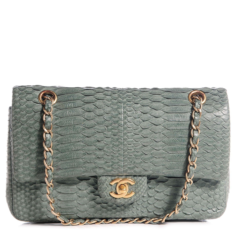 b0b0a9be9287 CHANEL Python Medium Double Flap Green | Bags!! | Chanel shoulder ...