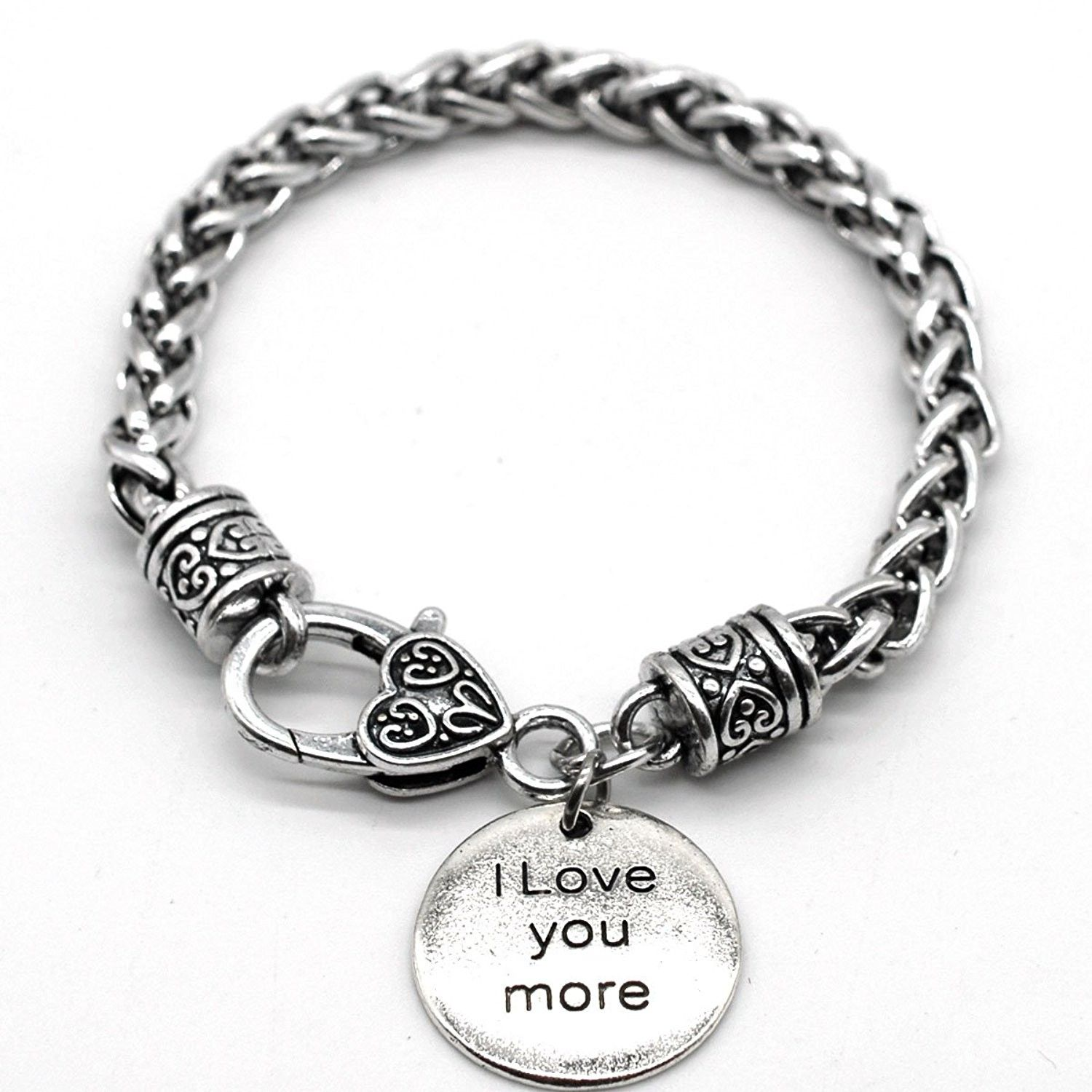 Antique silver tone braid inspiration bracelet i love you more