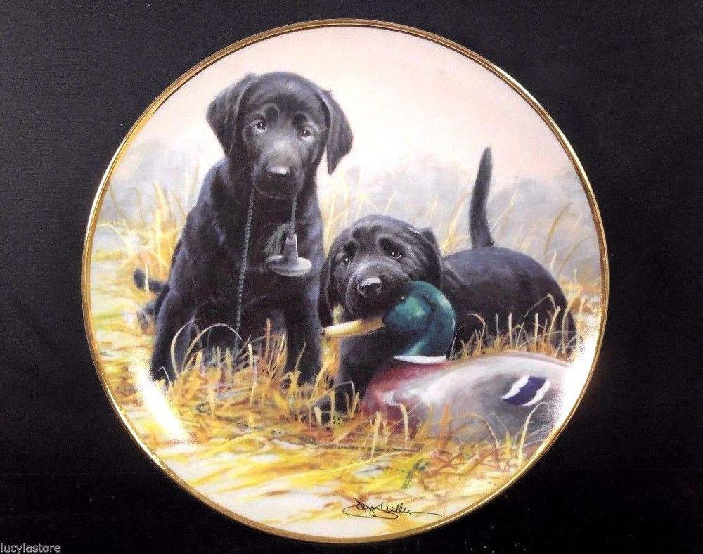 Franklin Mint Beginners Luck Black Dog Nigel Hemming Collector Porcelain Plate