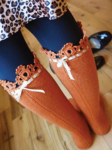 Knee High hand knit socks with lace edge