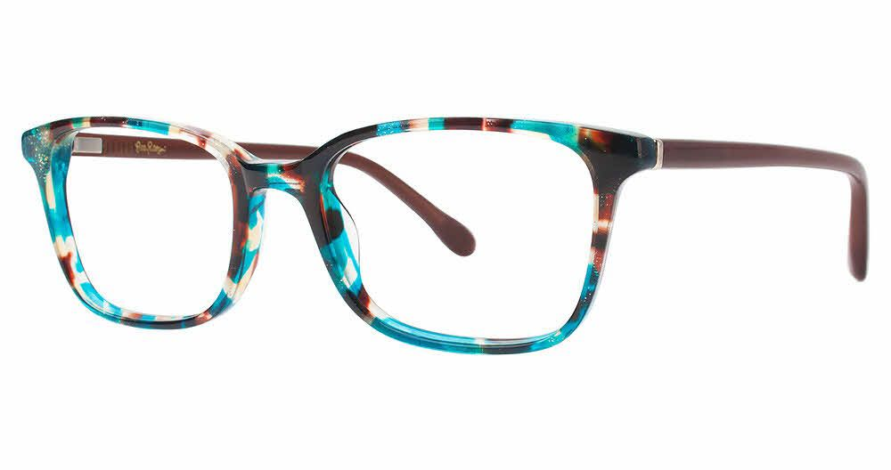 Lilly Pulitzer Rectangle Lindley BL/MB Marble Frame Eyeglasses ...