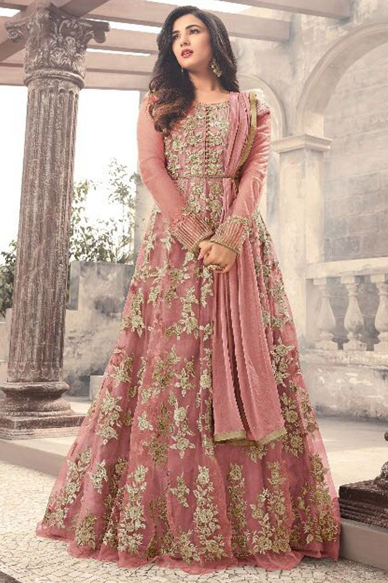 e97e903935 Peach Color Traditional Wear Beautiful Embroidery Work Occasionally Fashion  Celebrity Style Fancy Net Fabric Floor Length