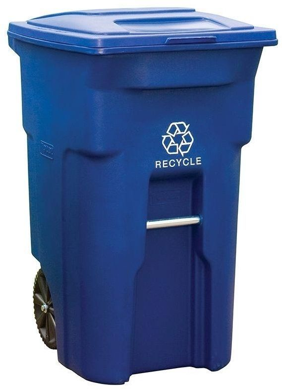 toter two wheeled blue rolling 64 gal recycle garbage can cart for recycling recycle bins. Black Bedroom Furniture Sets. Home Design Ideas