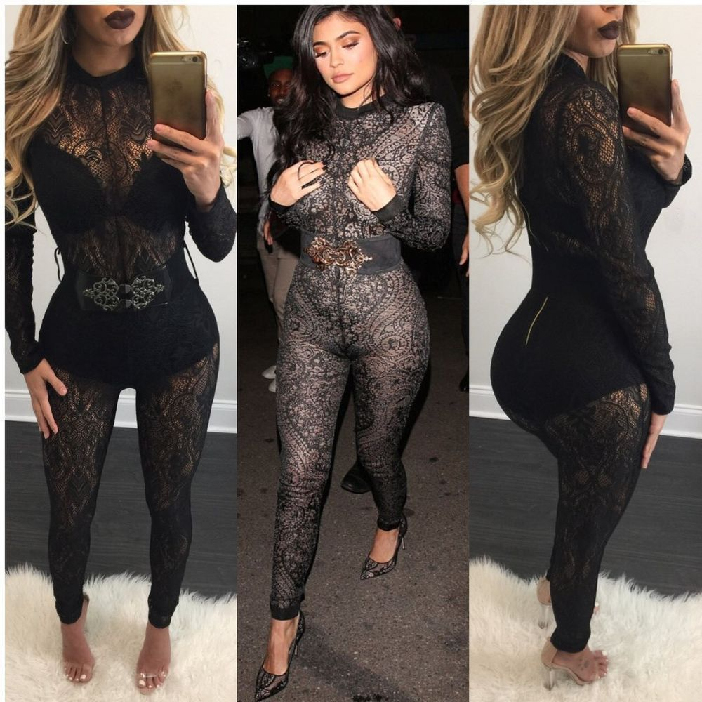 d7c289832c64 Sexy Womens Long Sleeve Lace Jumpsuit Party Club Bodysuits Rompers Long  Trousers  Jumpsuit