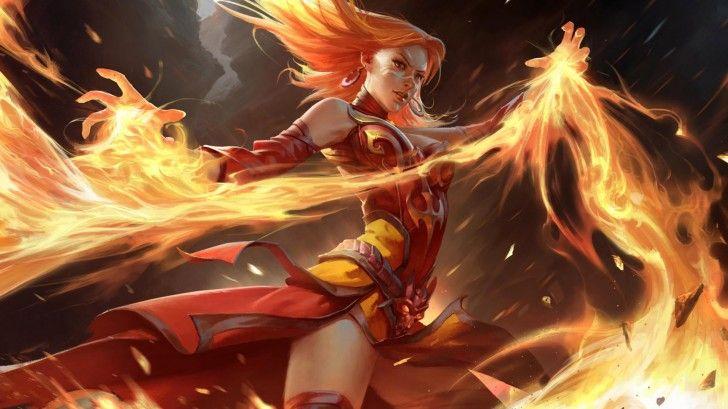 Lina Slayer Dota  Hd Wallpaper Flame Girl X