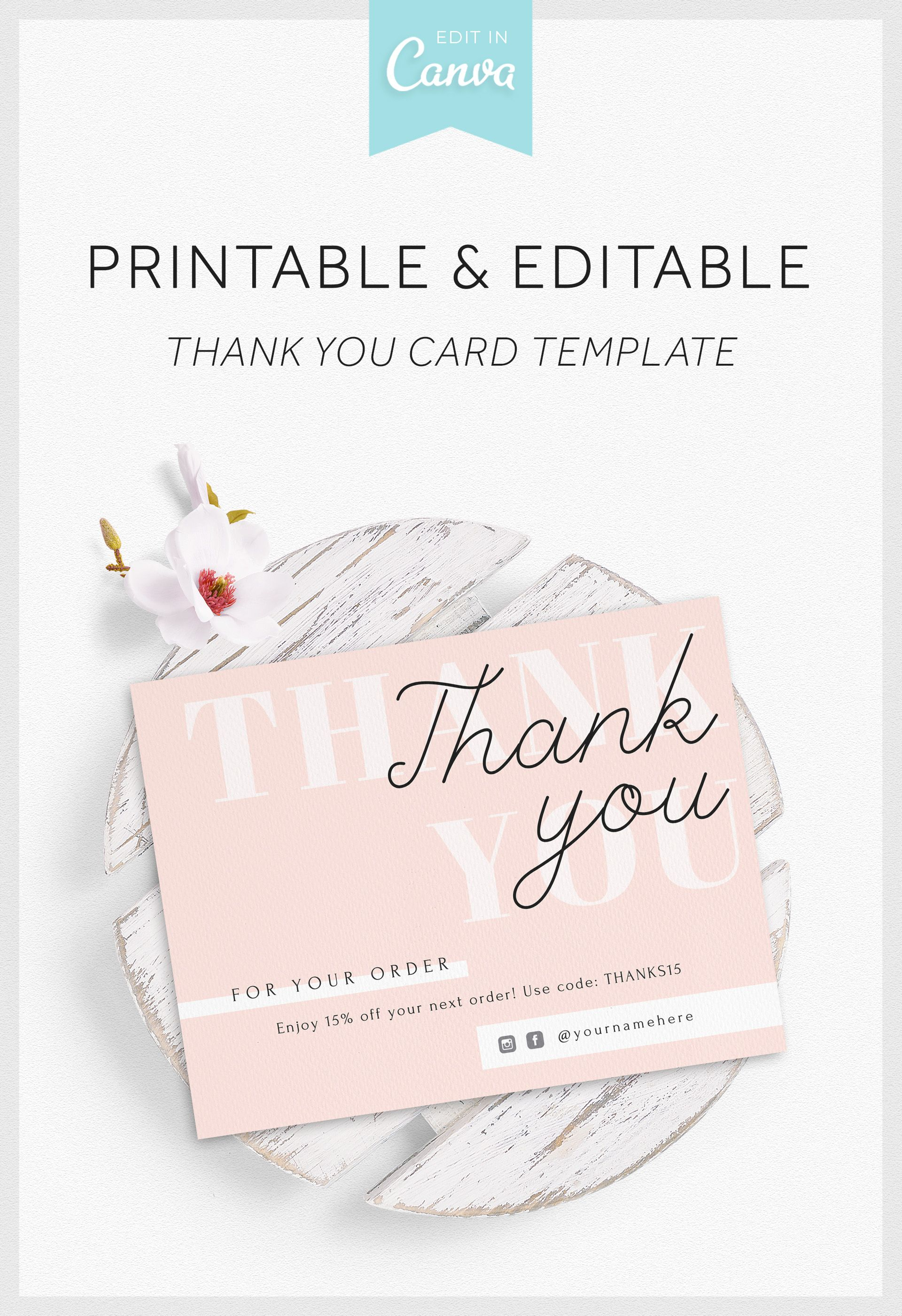 Blush Pink Thank You Card Template In Canva Editable Business Thank You Card Thank You Card Design Business Thank You Cards Thank You Card Template