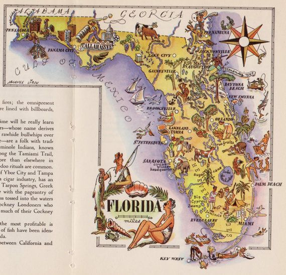 Old Florida Maps.Vintage Fl Map For The Love Of Florida Map Florida Pictorial Maps