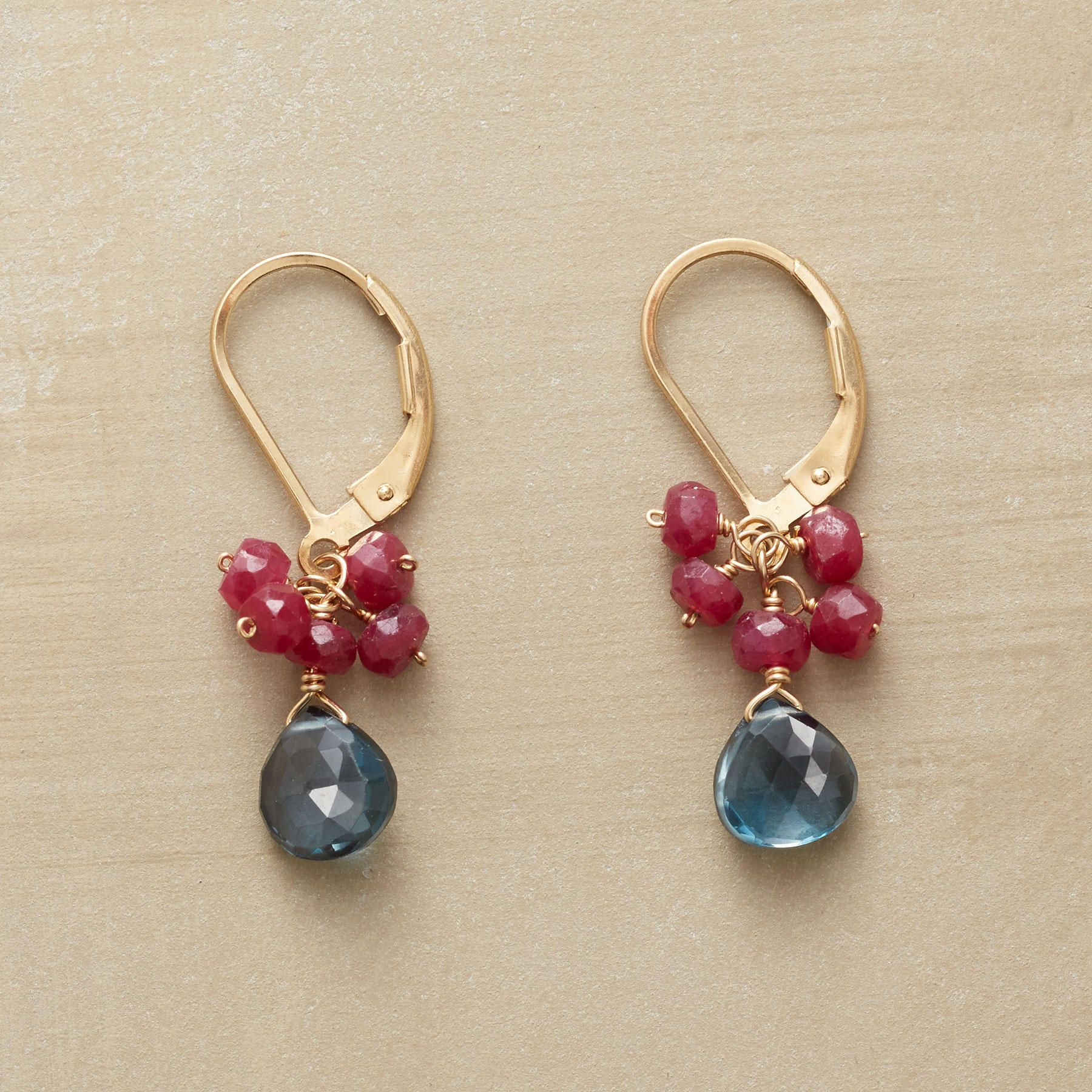 """RUBY ROYALE EARRINGS -- London blue topaz falls from a cluster of ruby rondelles beneath 14kt gold filled lever backs. Handmade Sundance exclusive. 1-1/8""""L."""