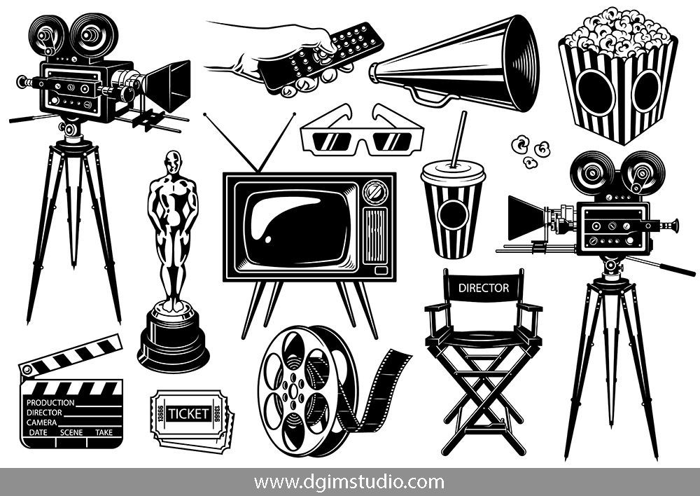 Old School Style Cinema Elements Set With Film Reel Movie Camera Cinematic Award Megaphone Tickets 3d Glasses Pop Art Images Camera Drawing Vector Artwork