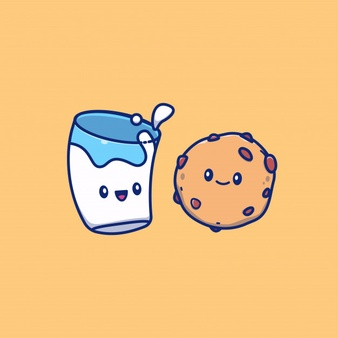 Cute Milk And Cookies Icon Illustration Breakfast Food Icon Concept Isolated Flat Cartoon Style In 2021 Vector Icons Illustration Cartoon Styles Icon Illustration