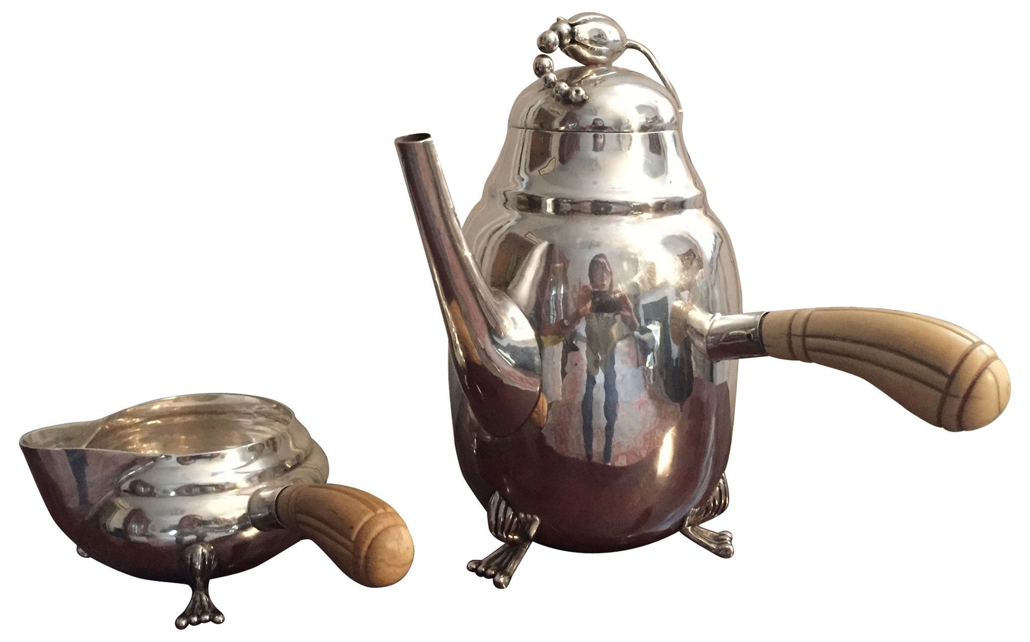 Georg Jensen Style Silver Coffee Pot and Creamer, American or Mexican, mid 20th century, after the Blossom pattern