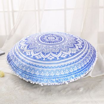 Indian Ottoman Large Floor Pillows Blue Ombre Mandala Tapestry Round