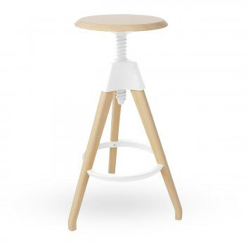 Excellent White Wood High Adjustable Swivel Stool Stools Creativecarmelina Interior Chair Design Creativecarmelinacom