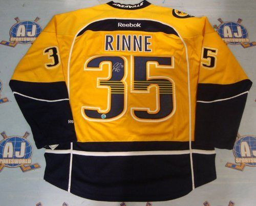 ab393a701 PEKKA RINNE Nashville Predators Autographed Reebok Premier Mustard Jersey .   379.05. This is an official
