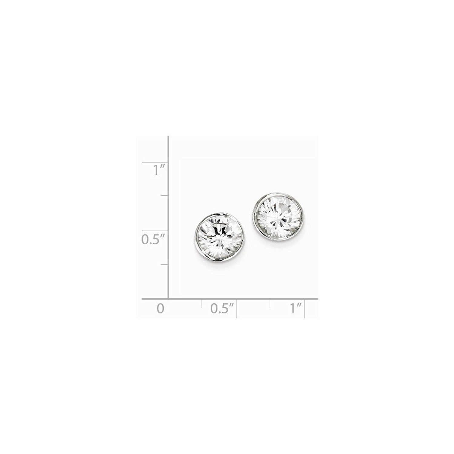 ICE CARATS 925 Sterling Silver 8mm Cubic Zirconia Cz Round Bezel Stud Ball Button Earrings Fine Jewelry Gift For Women Heart * Want to know more, click on the image. (This is an affiliate link) #JewelryForSale