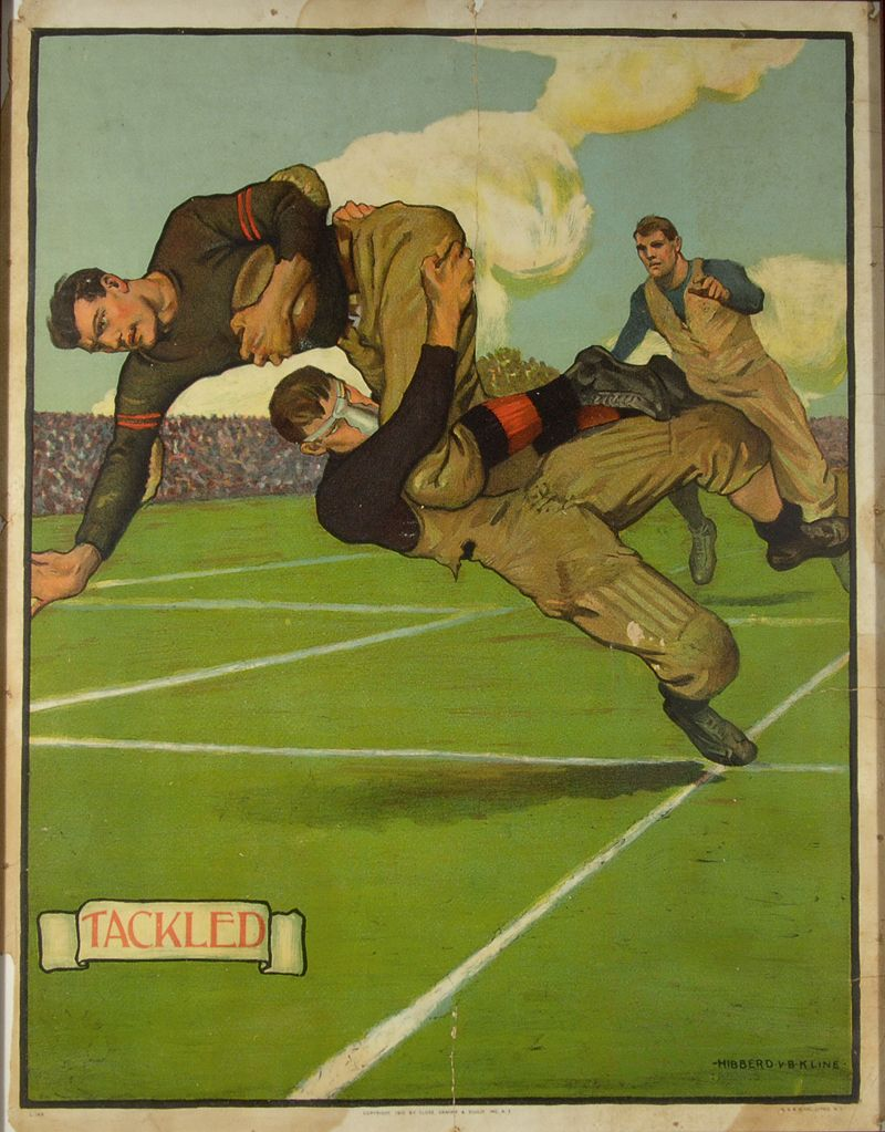 Tackled Football Themed Lithographic Display Piece C 1910 Full Color Display Piece Featuring Well Done Illustr Football Poster Tackle Football Navy Football