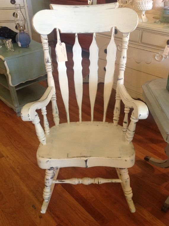 Vintage Cottage Painted Shabby Chic Rocking Chair