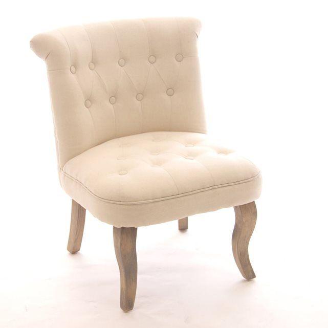 fauteuil crapaud calixte h 73 cm lin beige. Black Bedroom Furniture Sets. Home Design Ideas