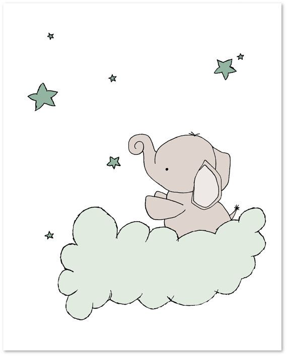 Elephant Nursery Art Prints -- Up And Away Nursery Decor -- Elephants Moon and Stars Art -- Set Of 3 Prints -- Kids Wall Art #kinderzimmerkunst