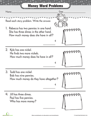 Penny Nickel Dime Word Problems Worksheet Education Com Money Word Problems Word Problems Word Problem Worksheets