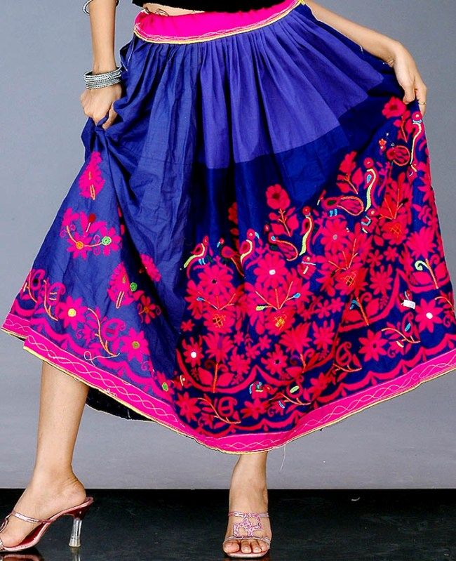 Gujarati skirt with antique kutch embroidery traditional