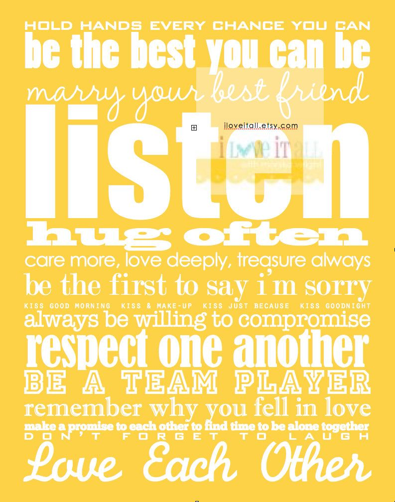 Just Married Quotes Marriage Rules Of Love Subway Art Print Manifesto 11X14 Just