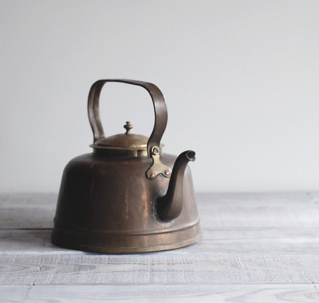 Antique Copper Tea Kettle Rustic Early 1900s Pot