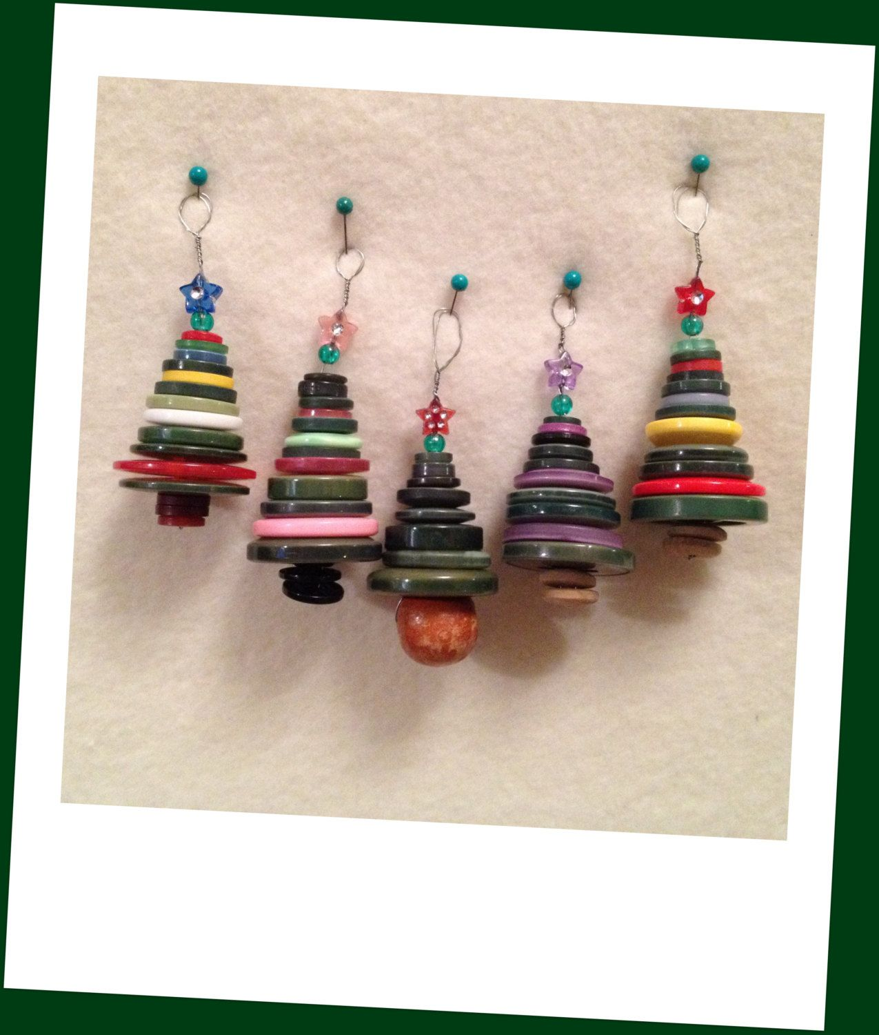 Cute as a button christmas tree ornaments choice of colours no